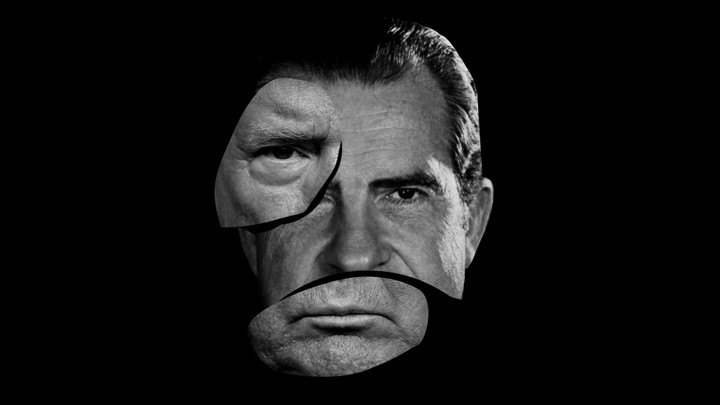 An illustration of Donald Trump's and Richard Nixon's faces melding.