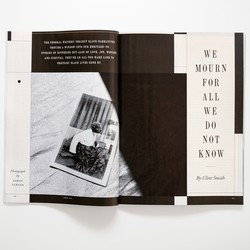 """photo of the print magazine open to """"We Mourn for All We Do Not Know"""""""
