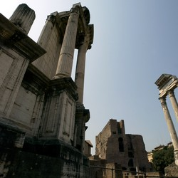 "A view of the ""Temple of Dioscuri"" at Fori Imperiali in Rome"