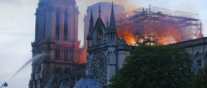 A photo of the Notre-Dame Cathedral fire in Paris.