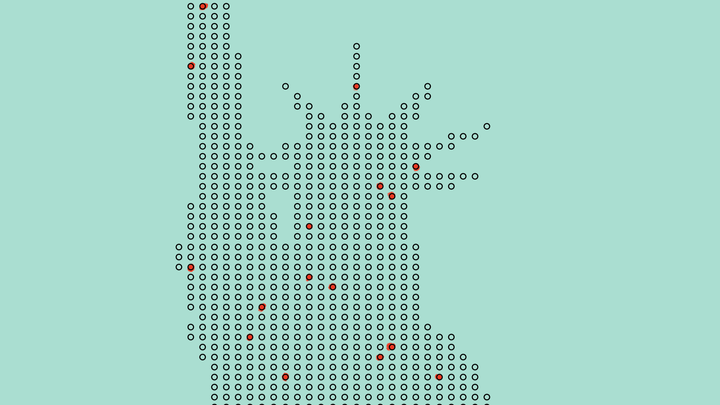 An illustration of the Statue of Liberty made up of many dots