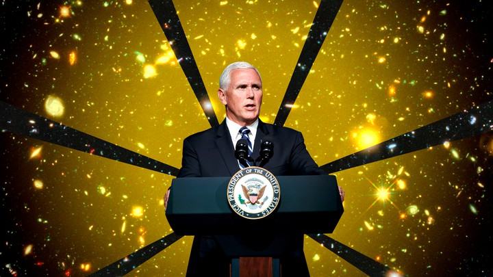 Mike Pence stands at a podium