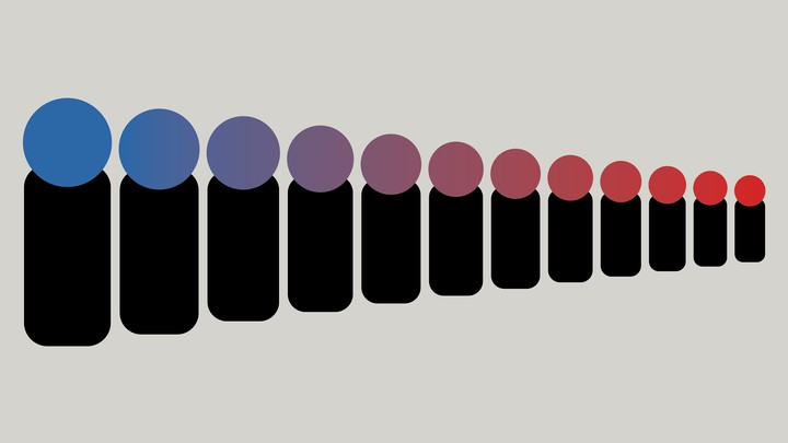 A row of diminishing black rectangles with circles atop them that vary in color from blue to purple to red