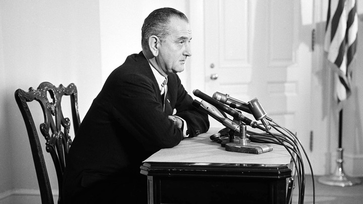 Lyndon B. Johnson in the White House conference room