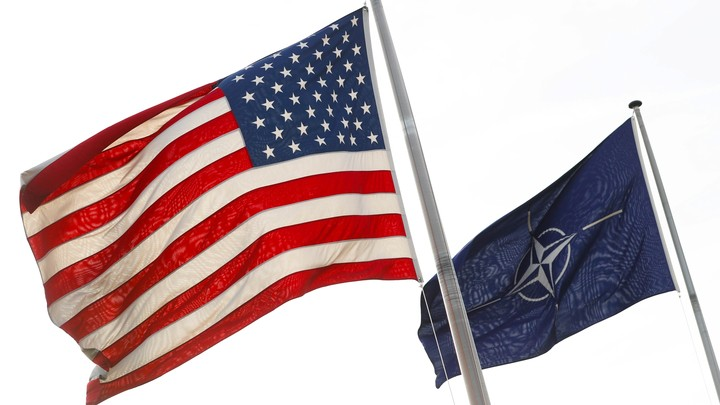 The American flag and the NATO flag