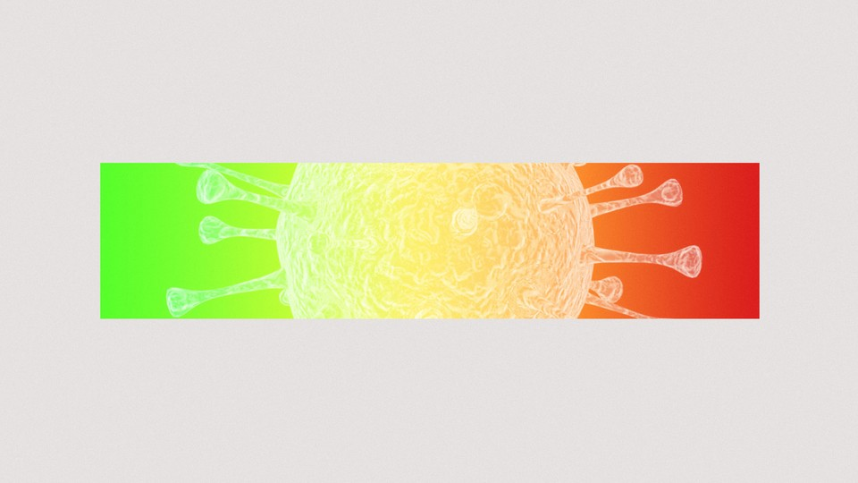 A coronavirus particle overlaid with a green-to-red gradient