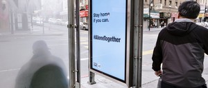 photo: a bus shelter in San Francisco during the Covid-19 pandemic