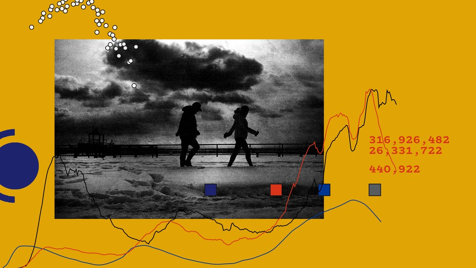 Two people walk by the sea in a black and white photo imposed on a mustard background
