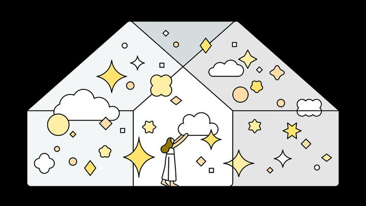 An illustration of a woman in a house filled with clouds, stars, and diamonds
