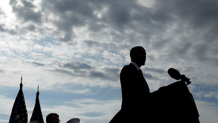 Barack Obama speaks during a 9/11 commemoration at the Pentagon.