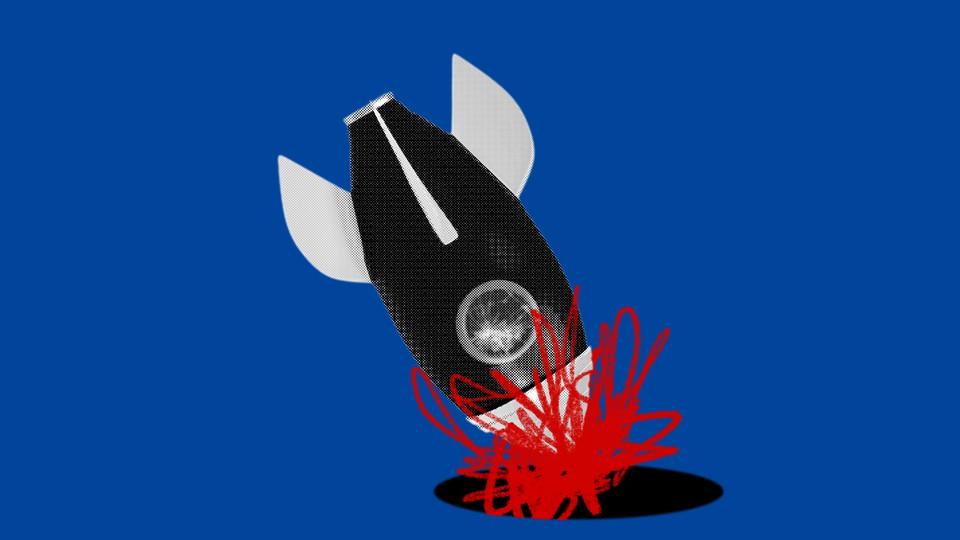An illustration of a rocket ship crashing