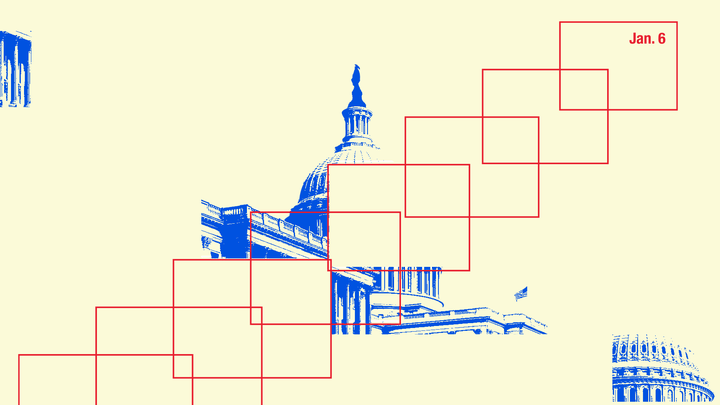 An illustration of boxes and the U.S. Capitol.