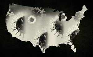 A U.S. map shaded in with coronavirus particles