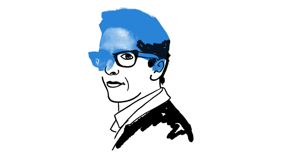 An illustration of Alison Bechdel slightly filled in with blue