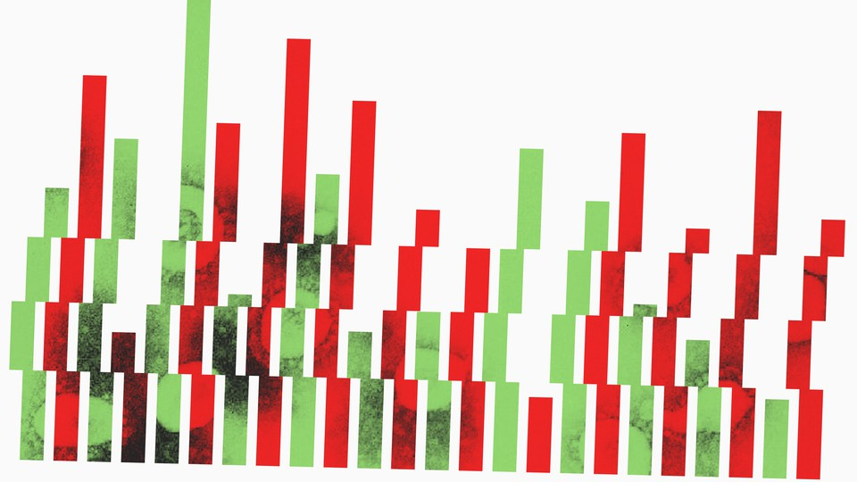 An illustration of red and green bar-graph lines