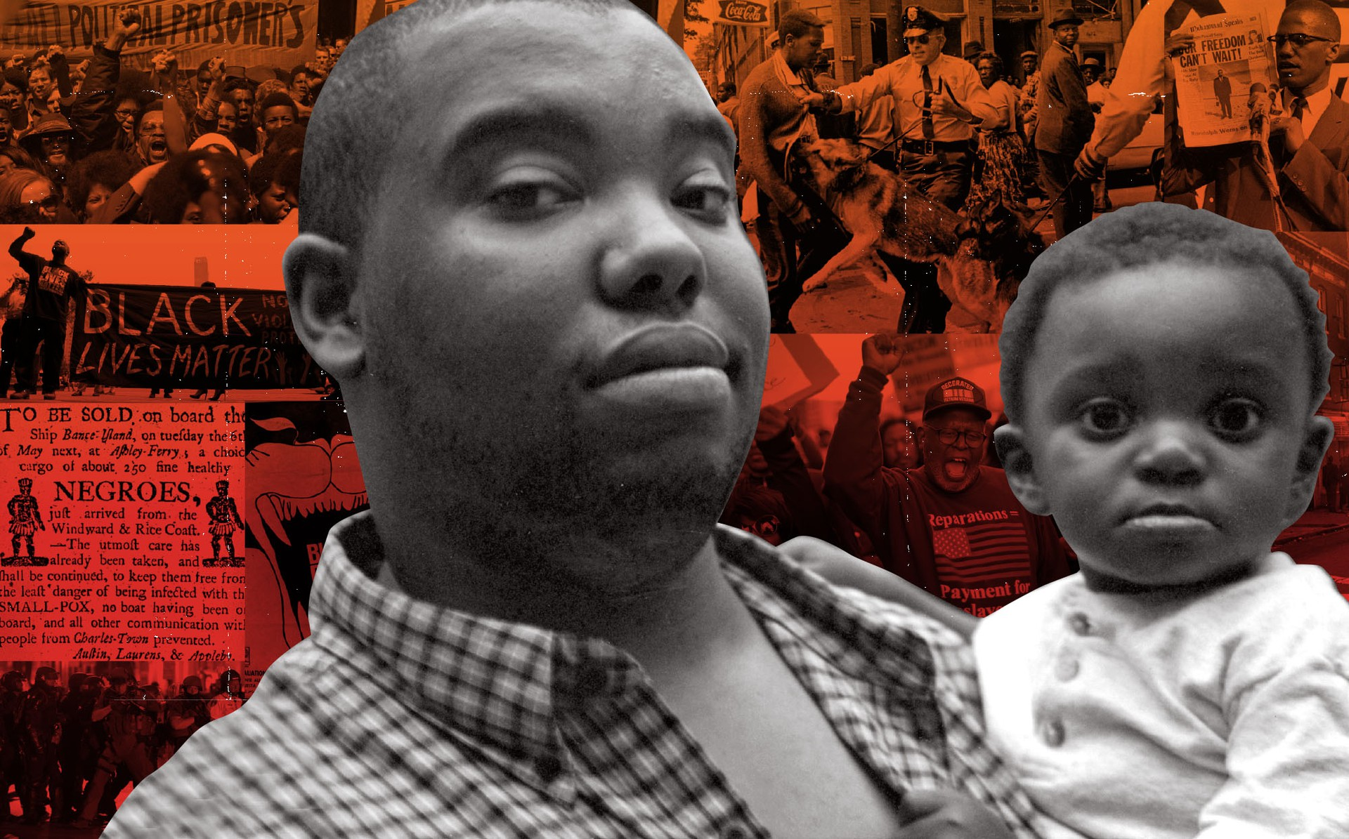 The author and his son, laid over images of Black Lives Matter and civil-rights protests
