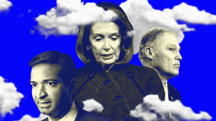 A collage of images of Nancy Pelosi, Carlos Curbelo, and Jay Inslee