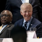 photo: House Majority Whip James Clyburn with former Vice President Joe Biden at the South Carolina Ministers' Breakfast in North Charleston, South Carolina.