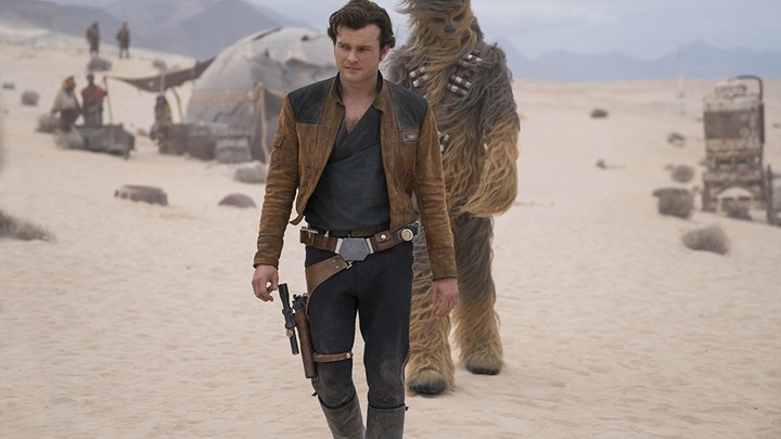Alden Ehrenreich as Han Solo and Joonas Suotamo as Chewbacca in 'Solo'