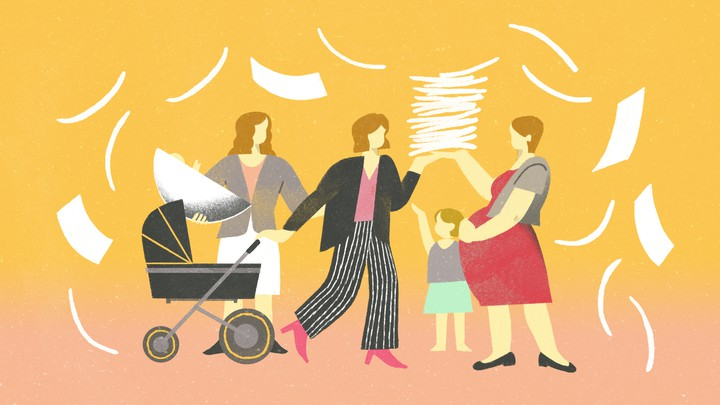 group of women with a baby carriage and a stack of paper