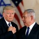 President Donald Trump and Israeli Prime Minister Benjamin Netanyahu shake hands after Trump's address at the Israel Museum in Jerusalem on May 23, 2017.