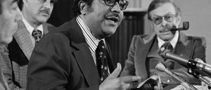 New York Representative Charlie Rengel chairs a House committee meeting on narcotics and drug abuse in 1976.