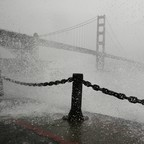 the Golden Gate Bridge in a storm