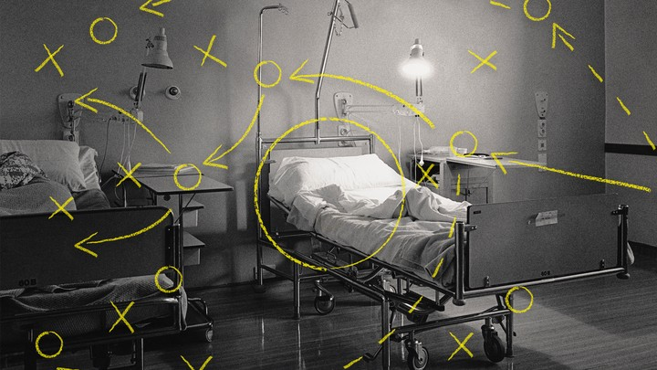 An illustration of a hospital bed with drawings on top.