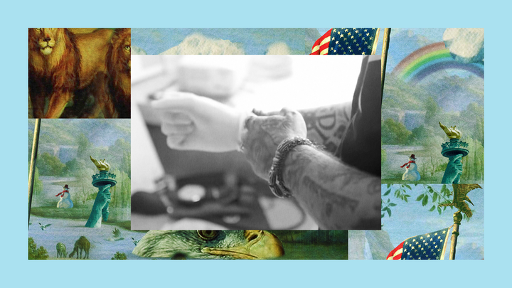 """A black-and-white image of tattooed arms, originally from Jeffrey Young's reality-TV pilot. That photo is set into a colorful collage of art from the podcast """"The Experiment."""""""