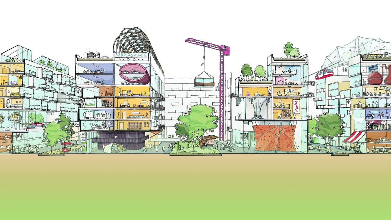 A sketch of a colorful futuristic city