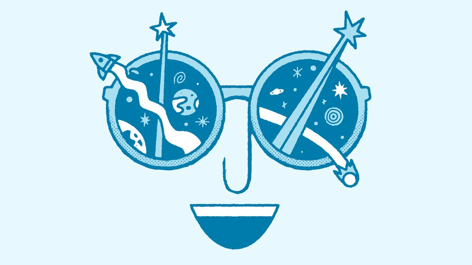 Illustration of face with open smile and sunglasses with rockets and stars shooting out of them