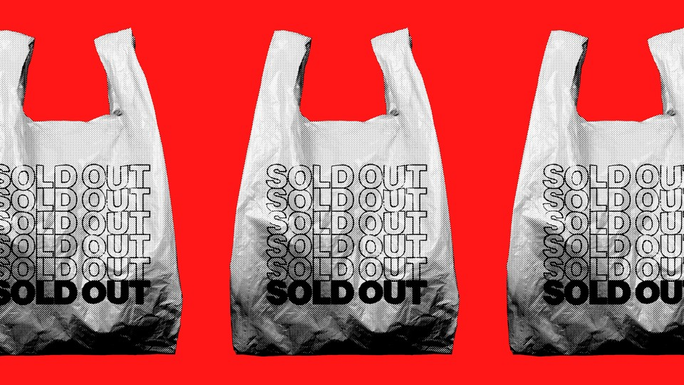 """A line of plastic bags with """"sold out"""" printed on them"""