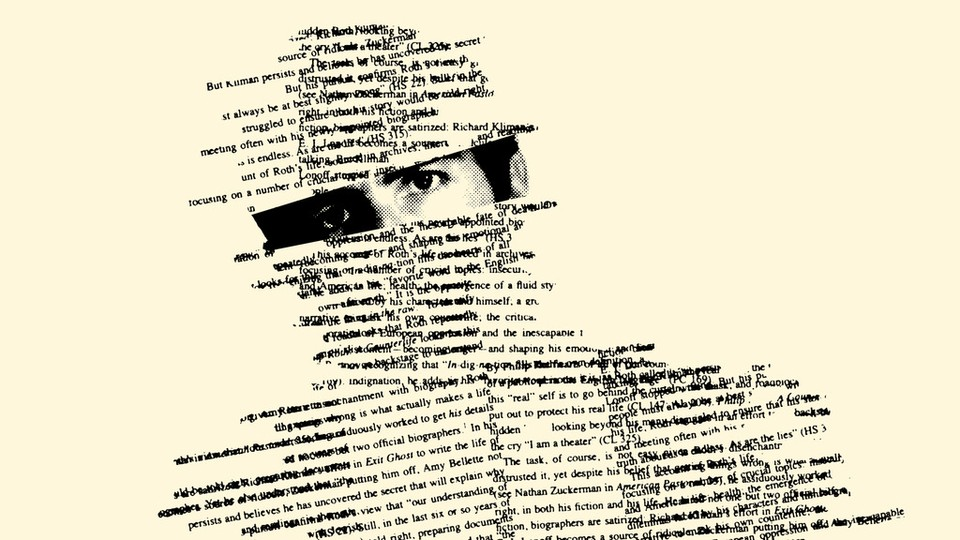 An illustration of a person made up of words,