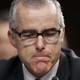 Former FBI Deputy Director Andrew McCabe, wearing glasses, at a Senate hearing