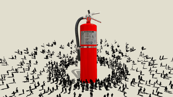 An illustration of a fire extinguisher with tiny people crowding around it.