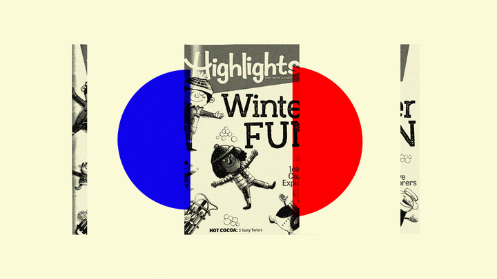 "An illustration featuring ""Highlights"" magazine"