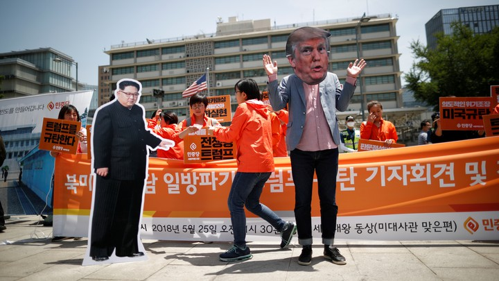 A protest in Seoul after Donald Trump canceled a summit with North Korea