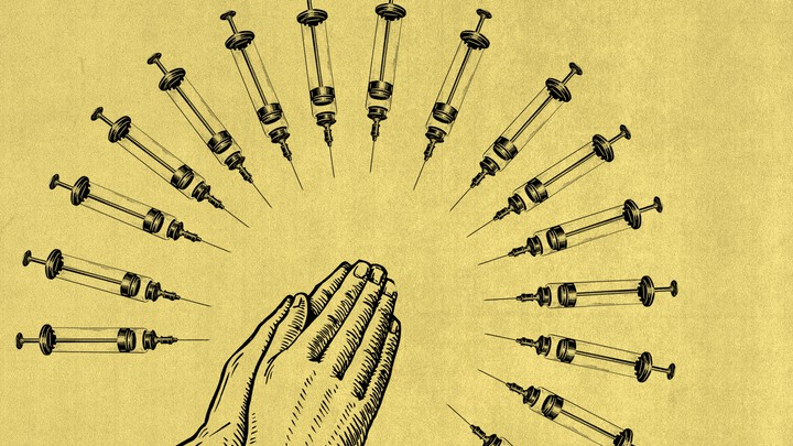 Illustration of praying hands, surrounded by syringes