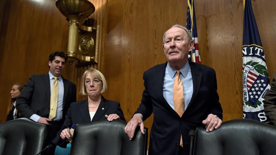 Senators Patty Murray of Washington and Lamar Alexander of Tennessee in a hearing room