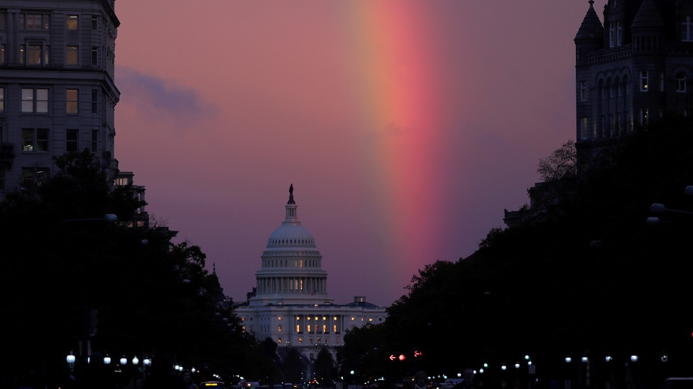 A rainbow over the Capitol on Election Day 2018