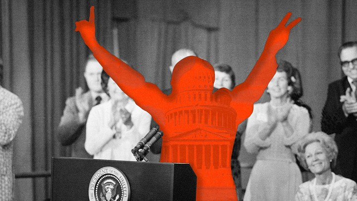 A cutout of Richard Nixon making V for Victory hands