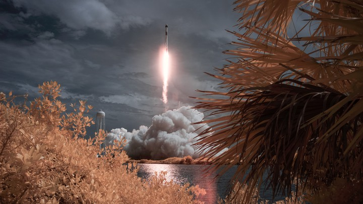 A SpaceX rocket blasts off