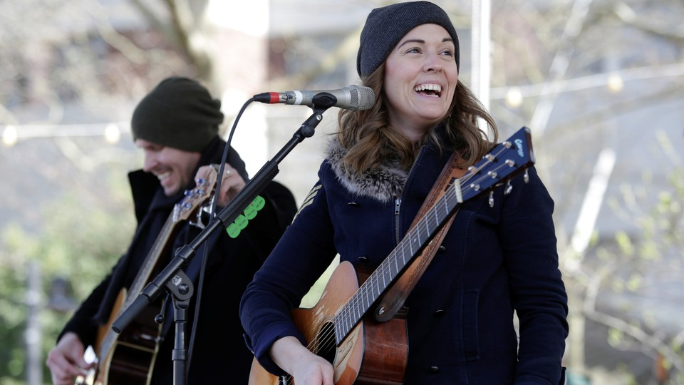 Brandi Carlile plays at a March for Our Lives demonstration