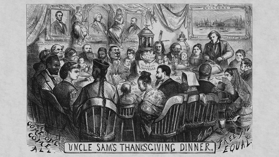 "Thomas Nast's ""Uncle Sam's Thanksgiving Dinner"""