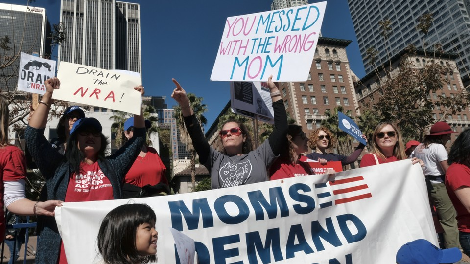 A picture of mothers protesting for gun control
