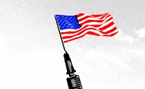 Illustration of a vaccine needle with an American flag