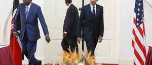 Kenya's President Uhuru Kenyatta and U.S. President Barack Obama meet in 2015. Something in common?