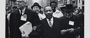 Dr. Benjamin Spock, Dr. King and Monsignor Rice of Pittsburgh march in the Solidarity Day Parade at the United Nations building, April 15, 1967.