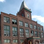 Hartford's Capewell Horsenail Factory in 2005, abandoned for decades and heavily contaminated. It's now a luxury loft apartment building.