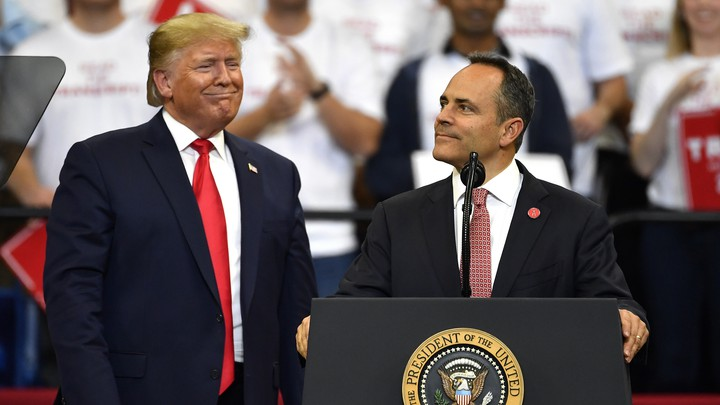 Kentucky Governor Matt Bevin with Donald Trump at a campaign rally in Lexington, Kentucky